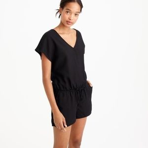 J. Crew Black Small Short Romper Cap Sleeve 0589